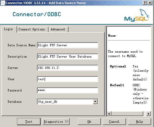 Integrating Xlight FTP Server with database through ODBC